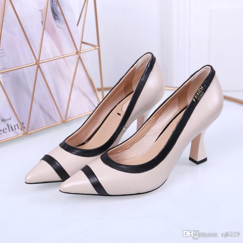 b6cbe08526ed 2020 High Heels Women Leather Slippers Luxurious Brand Beige Black Sandals  Catwalk Heels Pumps Woman Dress Prom Shoes Formal Shoes Cheap Shoes For  Women ...