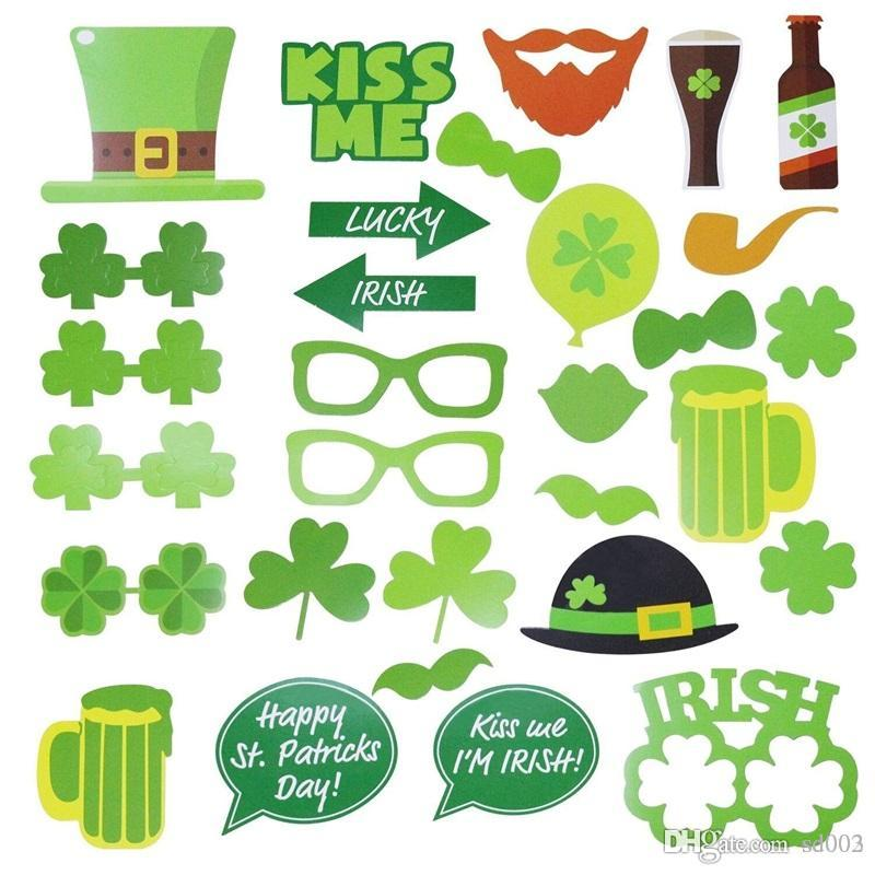 St. Patrick's Day Wedding Photo Props Ireland Beer Festival Bar Party Funny Mask Multi Shaape Lip Glasses 6 5fz A1