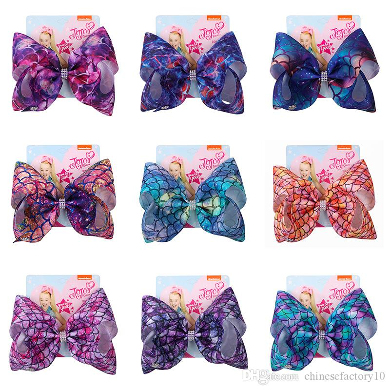 Jojo Siwa Hair Bow Hairpins Mermaid Grosgrain 8 INCH Bowknot Girls Hairband 2019 New 11 Colors Barrettes Accessories