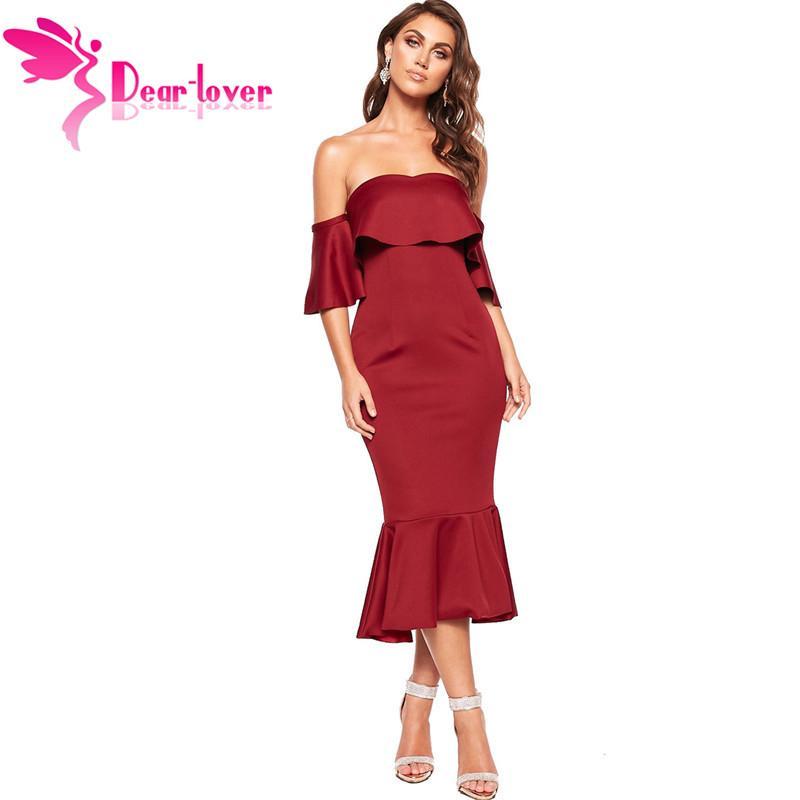 125ffbe8d509 New Elegant Party Dresses Burgundy New 2019 Ruffled Dress Sexy Off Shoulder  Fishtail Midi Dress Women LC610936 Sundresses For Women Best Dresses From  ...