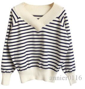 fa9748f36c6 2019 Autumn Winter Korean Version V Neck Knitted Loose Leisure Striped  Pullover Sweater Knitted Bottom Sweater For Women S Wear From Annier0116