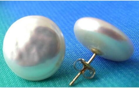 free shipping 12-13MM WHITE COIN FRESHWATER PEARL STUD EARRING 14k/20 GOLD