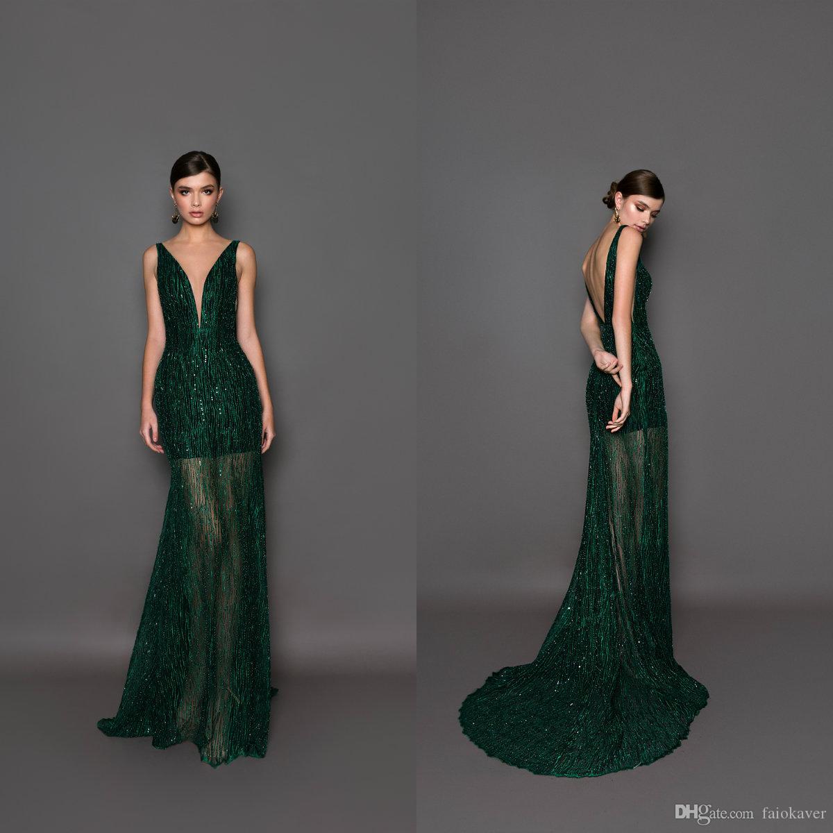 c115aeb7 Compre 2019 Verde Oscuro Berta Sirena Vestidos De Baile De Cuello En ...