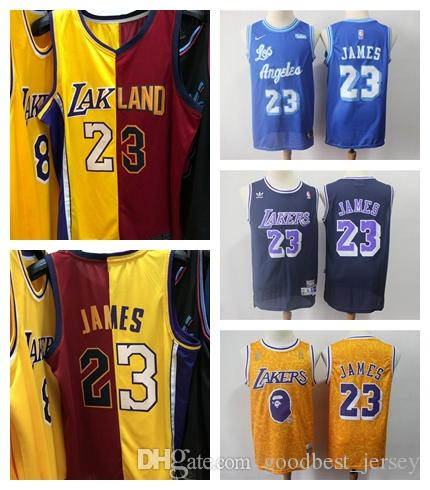 100% authentic a3253 c4774 Los Angeles new 23 LeBron James Lakerss just don jersey BJL Cleveland red  gold Cavaliers Jersey LAK 2019 2018 two 2 color