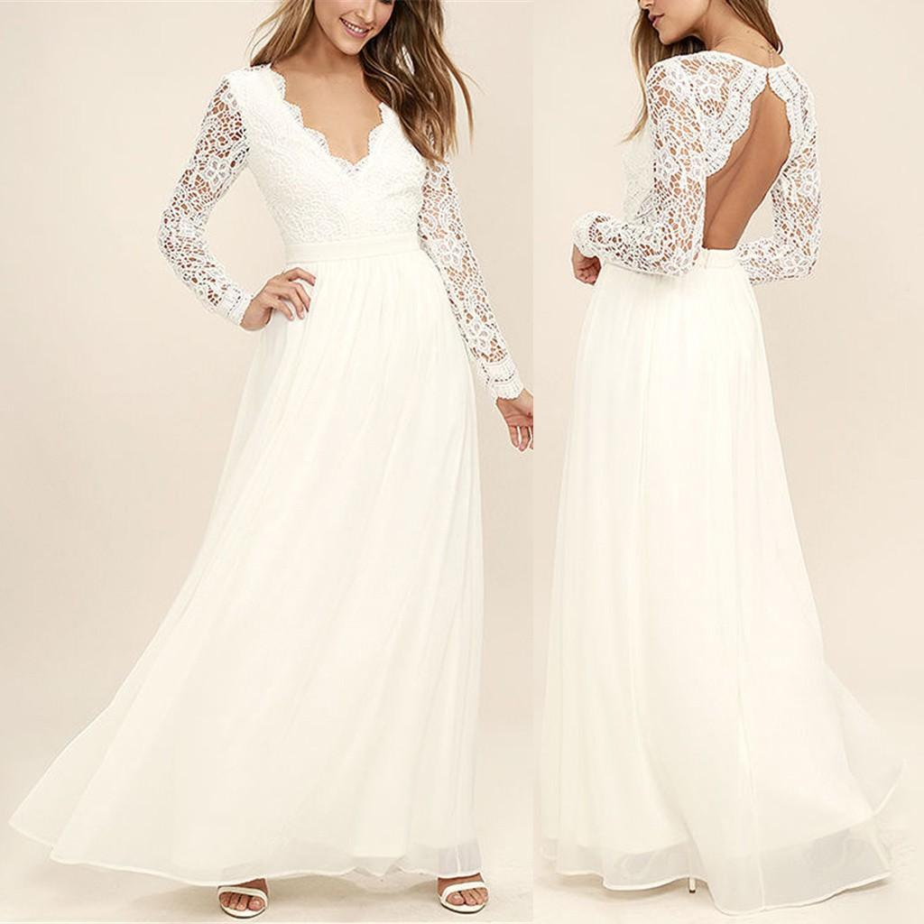 ba1b6b4d7d298 Satın Al Feitong 2019 Womens Dantel V Yaka Uzun Kollu Şifon Maxi Elbiseler  Balo Parti Elbise Yeni Varış, $23.47 | DHgate.Com'da
