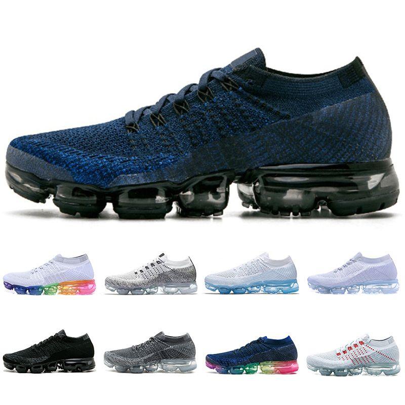 finest selection 806b1 1dbcc Nike Air Vapormax flyknit 1.0 shoes Homens e Mulheres Athletic Running  Shoes 1.0 Marinha Triplo Preto Branco Vermelho Cinza Esportes Tênis Mens  des ...
