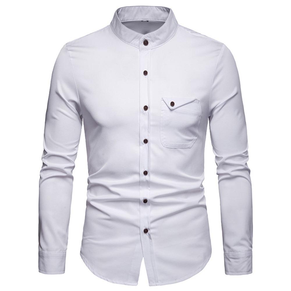 Casual Tasche Hemd Bluse Herrenhemd Stehkragen Knopf Tops Frühling Festes Business Work Weiche Männliche Langarm dBoQWrCxe