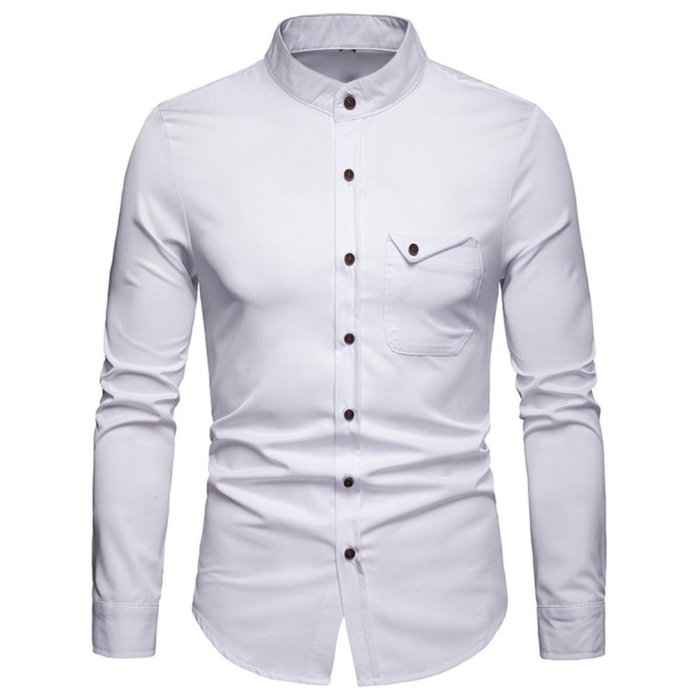 0b2a3aa8 Casual Spring Men's Shirt Business Work Soft Long Sleeve Stand Collar  Button Pocket Solid Shirt Blouse Male Tops