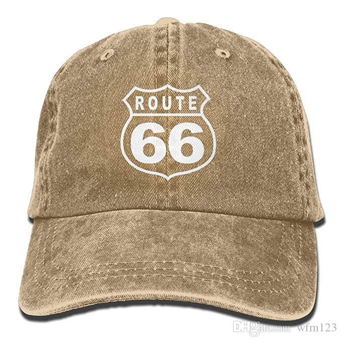 96a23a767828e 2019 New Custom Baseball Caps Mens Cotton Washed Twill Baseball Cap Route  66 Vacation Highway Road Sign Hat Ball Cap Wholesale Hats From Wfm123