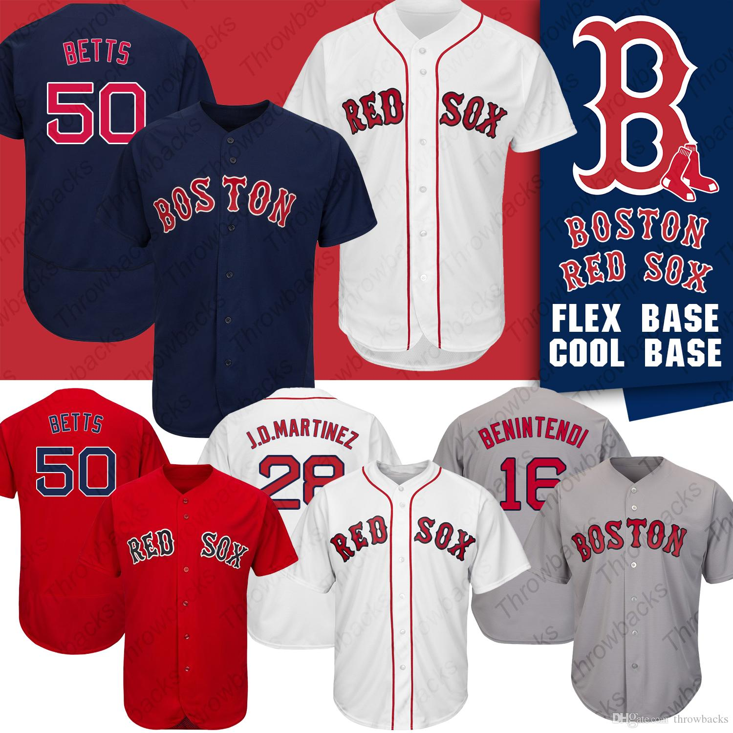new product ecfbf 7ce83 Boston 2019 Red Sox Jerseys Mookie Betts Andrew Benintendi J.D. Martinez  Marcus Walden Baseball Jersey Cool Base Flex Base