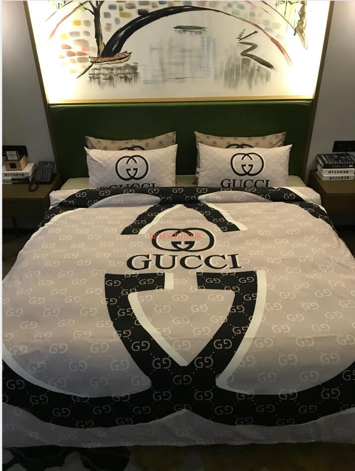 Europe and America Trendy Fashion Cotton Alphabet Printing Series Quilt Cover Fashionable Soft and Comfortable Bed Set Skin-Frie