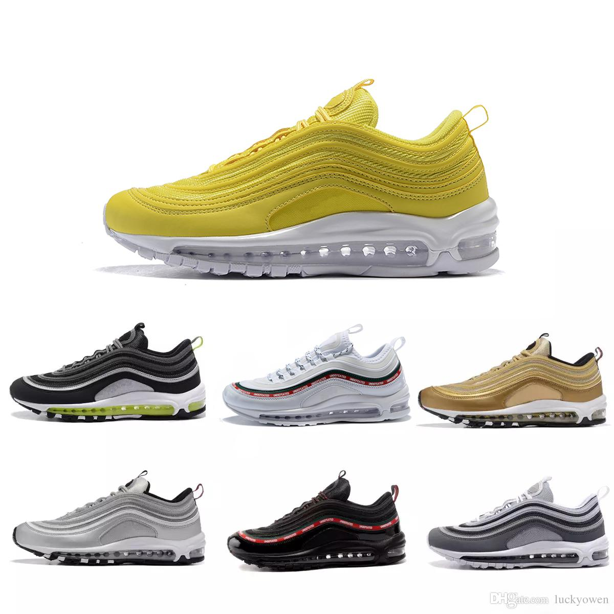pretty nice df9ad 416f6 2018 Anniversary Edition Running 97s triple Black White Og Metallic Gold  Silver Bullet Trainer X Undftd Speed 97 OS Men women Sport Shoes