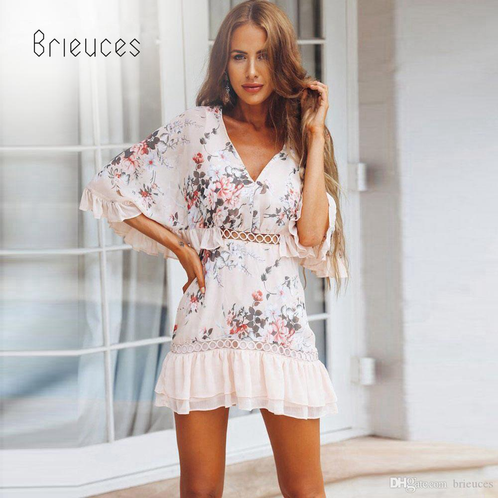 c338d0e8fa6 Brieuces Floral Summer Dress Women White Print Lace Up Wrap Ruffles Tunic A  Line Hollow Casual Vacation Beach Dress Vestidos Black And White Cocktail  ...