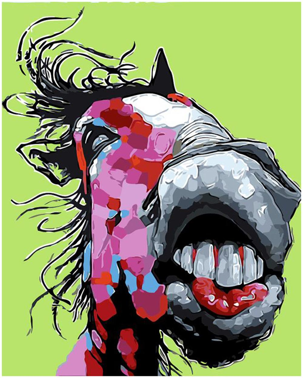 "Kits Paint DIY Painting By Numbers Oil Paint Adult Hand Painted-Big mouth horse 16""x20"""