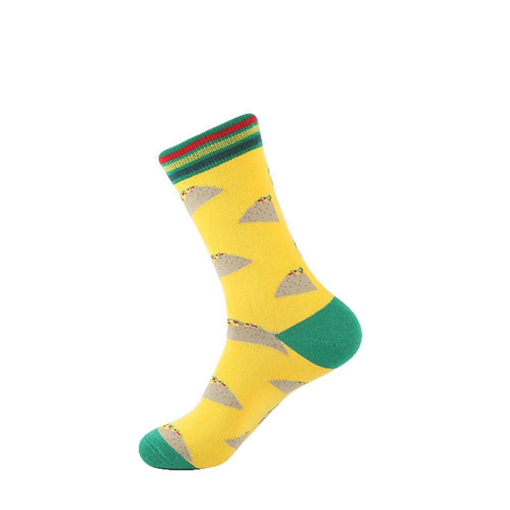 YEADU Men's Colorful Funny Socks Cotton Fruit Series Long Socks For Men Causal Dress Bright Multi-Color Wedding Gift