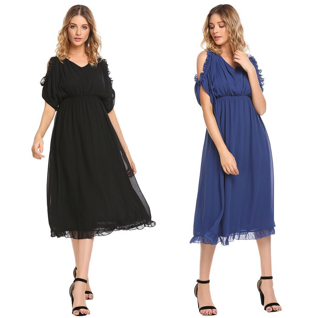 Fashion New Women Ruffles Short Sleeve Cold Shoulder Solid Chiffon Long Dress V-Back Fashion Clothing, Shoes & Accessories prom