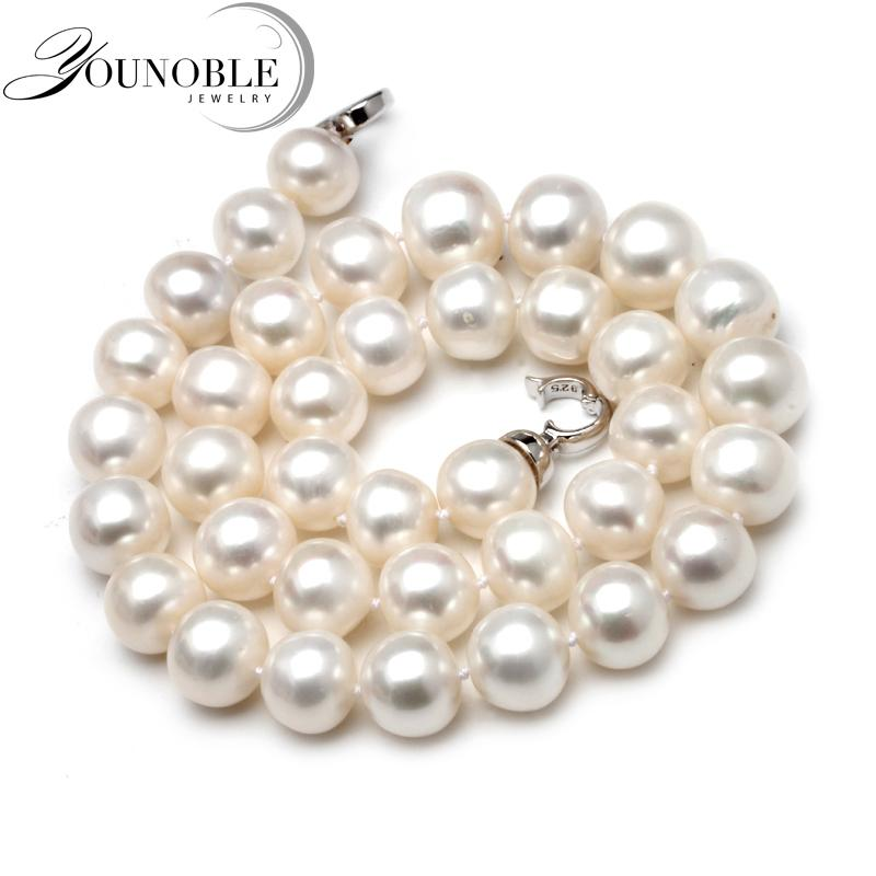 12-13mm Round Natural Freshwater Big Women,ethnic Good Luster Pearl Bead Chocker Necklace Mother Gift Anniversary J190722