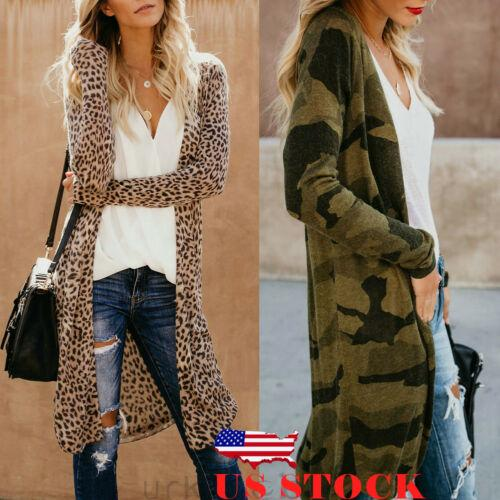US Women Casual Spring Loose Long Sleeve Camouflage Leopard Kimono Shawl Tops Blouse Zip Coat