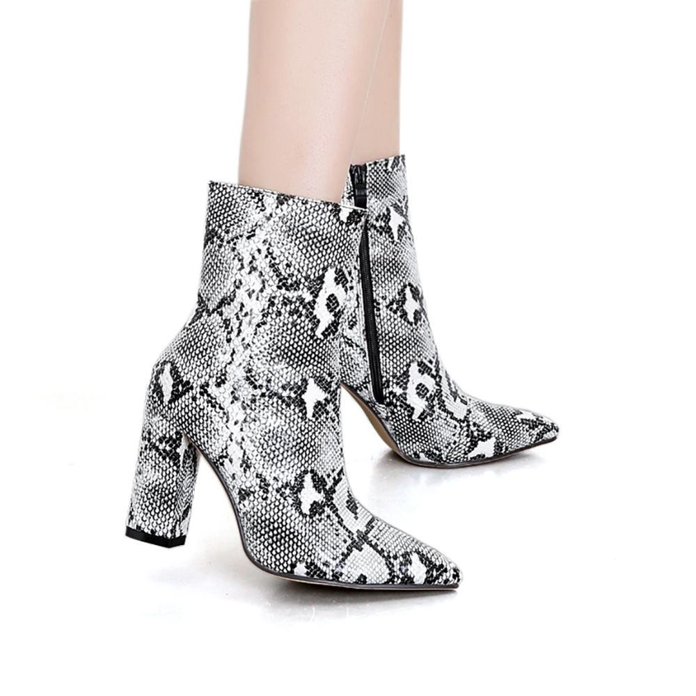 Womens Pointed Ankle Boots Block Heels Snake Print Bootie Women Zipper Boots Print Ankle Square Heel Ladies Sexy Shoes
