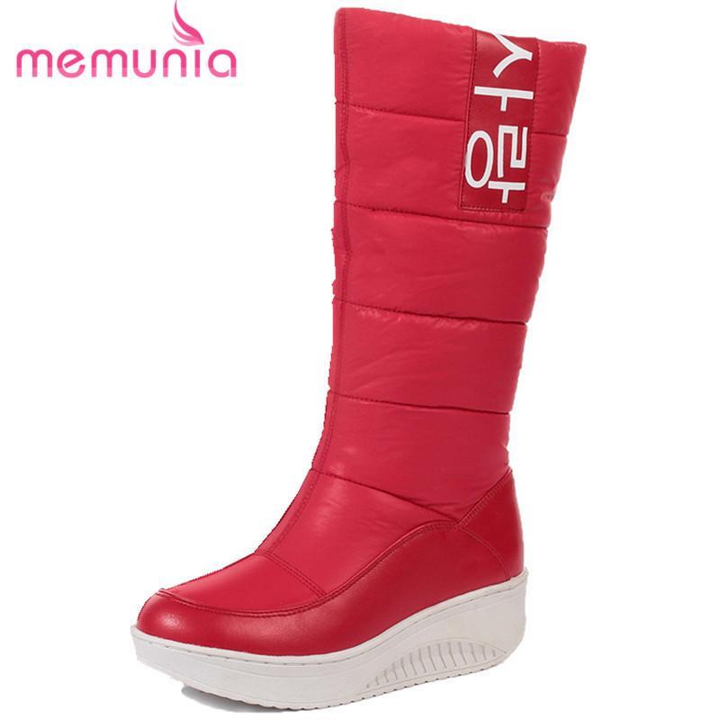 243539d64 Compre Tamanho 35 44 Senhoras Botas De Neve Cunhas Saltos Deslizamento Em  Mulheres Botas De Inverno De Pele Dentro Mid Bezerro Botas Sapatos Doces De  ...