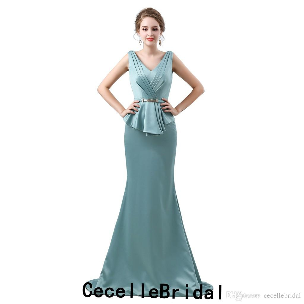 1f6ab99a15fa2 Satın Al Mermaid Sage Saten Uzun Abiye 2019 Yeni V Boyun Kolsuz Basit Zarif  Kadınlar Örgün Akşam Parti Elbise Anneler Elbise, $71.22 | DHgate.Com'da