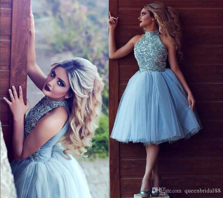 2019 Luxury Beaded High Collar Homecoming Dresses Sleeveless Light Sky Blue Tulle Graduation Party Formal Gowns