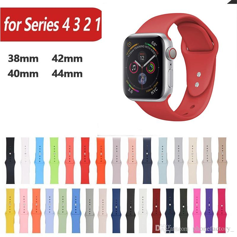 ae8fd9bfb Silicone Sport Band Replacement For Apple Watch 4 3 2 1 Band Wrist Strap  With Adapters Accessories 40mm 44mm 42mm 38mm Leather Strapped Watches  Strap ...