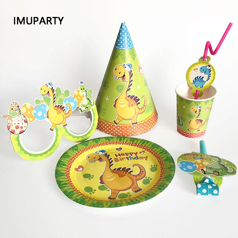 Cartoon Dinosaur Party Disposable Tableware Cups Plates Hats Straw Birthday Party Decorations Kids Boy Green for 6 Person