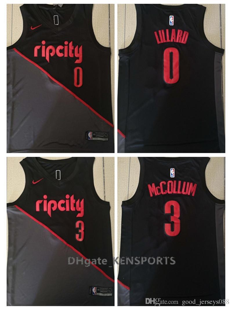 19a8d568d 2019 City Edition 2019 Men Portland Trail Basketball Jerseys 0 Damian  Lillard 3 C.J. McCollum City Edition ALL Stitched Jerseys From Great001