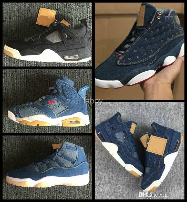31b3c8d15bcf8 Compre Nike Air Jordan Retro Retros Jumpman Moda 4 6 11 13 Denim Travis  Zapatillas De Baloncesto Para Hombre Blue Jeans 4s 11s 13s Zapatillas De  Deporte AIR ...