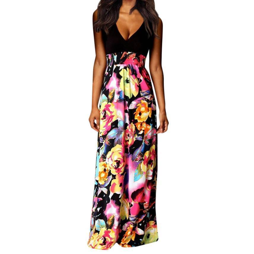 383422c8dc47 2019 nuevo vestido largo boho verano mujer vintage floral impreso vestidos  de fiesta largos damas con cuello en v sin mangas playa vestido de verano
