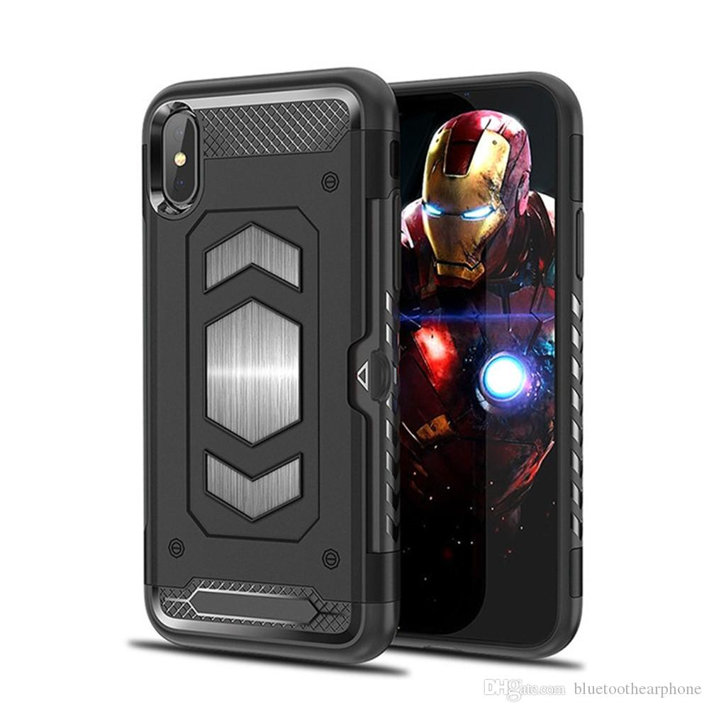 0f0effb3be Heavy Duty Hybrid Armor Shockproof Case For IPhone X XS Max XR 7 8 6 6S  Plus With Card Holder Magnetic Car Mount Phone Case Custom Phone Cases From  ...