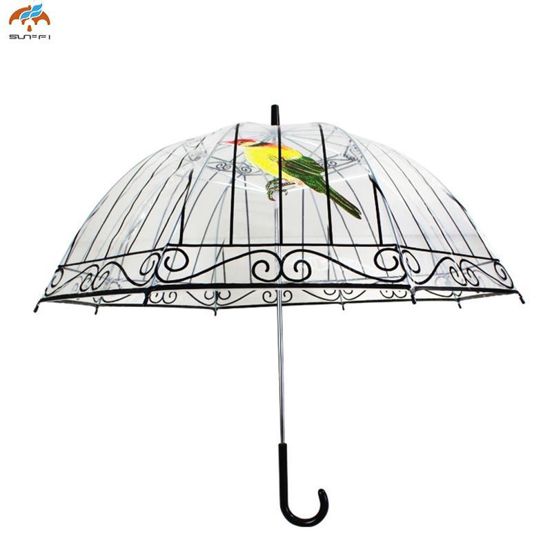 8fdb9647484d 1PCS Long Handle Transparent Umbrella Creative Semi-automatic Sunny and  Rainy Umbrella DA