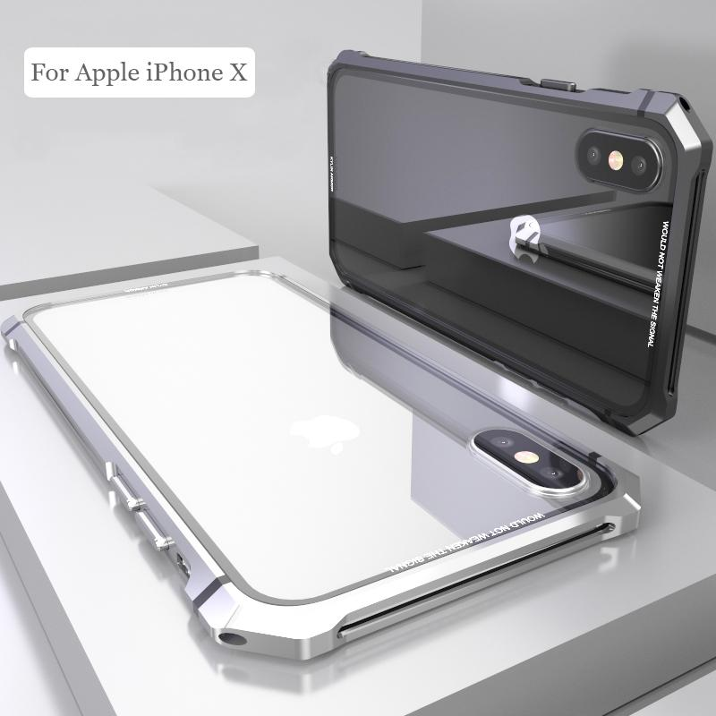 For iPhone X 7 8 Plus Case Black Protective Aircraft Bumper Metal Screw Cell Phone Case with Transparent Back Tempered Glass
