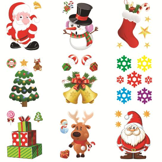 New Shop Window Refrigerator Snowman Santa Claus SnowFlake Gifts Christmas Tree Wall Sticker Decorations For Home Stickers
