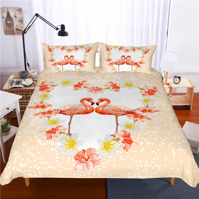 de66fdd821c Compre Estampado 3D Juego De Cama Flamingo Flower Love Frinds '/ Regalo De  Los Amantes / Regalo Actual Juego De Funda Nórdica Textiles Para El Hogar A  ...