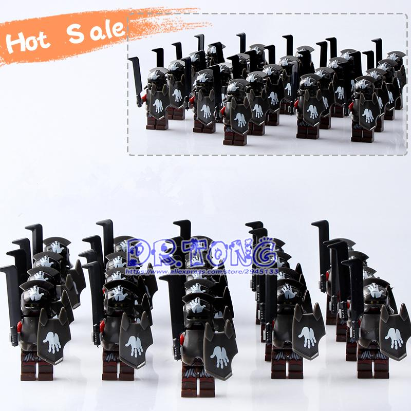Dr.tong 21pcs/lot Medieval Castle Knights Hero Of Sparta The Lord Of The Rings Mini Building Blocks Brick Armor The Toy Y190606
