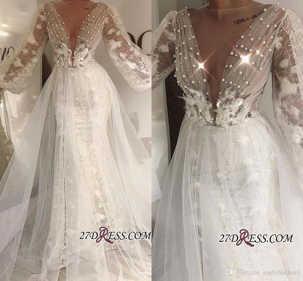 2019 New Princess Sheer V Neck Beading Lace Wedding Dresses Long Sleeves A Line Appliqued Floral Tiered Skirts Bridal Gowns Bc0529