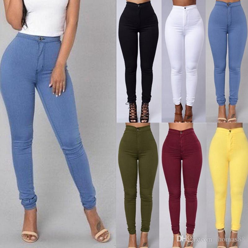 a69f2d160b3 Compre Mujeres Denim Jean Skinny Jeggings De Cintura Alta Estiramiento Jeans  Sólidos Slim Lápiz Pantalones Wash Skinny Jeans Mujer Cintura Alta Pantalón  A ...