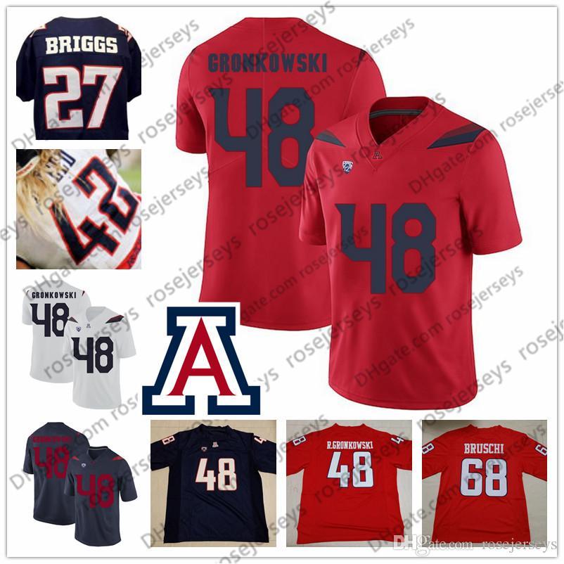 online retailer 66a37 00dfd NCAA Arizona Wildcats #68 Tedy Bruschi 48 Rob Gronkowski 42 Brooks Reed 27  Lance Briggs Navy Blue Red White Retried Vintage Football Jersey