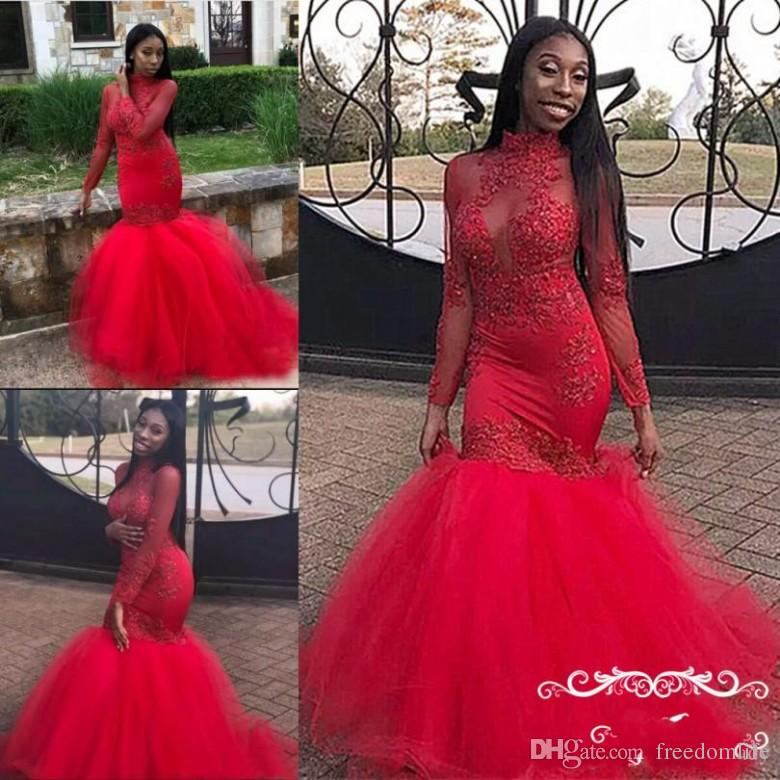 6aef9c34bc1 Black Girl Red Mermaid Prom Dresses 2019 Illusion Bodice Sheer Long Sleeves  High Neck Lace Appliques Formal Evening Dress Party Gowns Prom Dresses For  Teens ...
