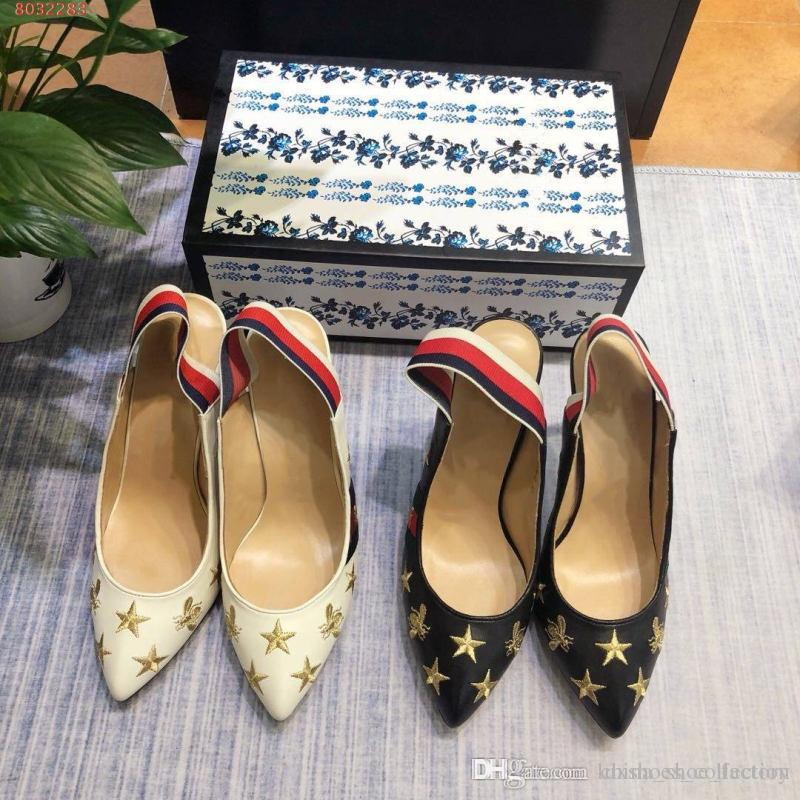 ed82771993 Spring /summer new women High- Heel sandals, Embroidered shoes with stars  and bees, street style fashion High-heeled sandals