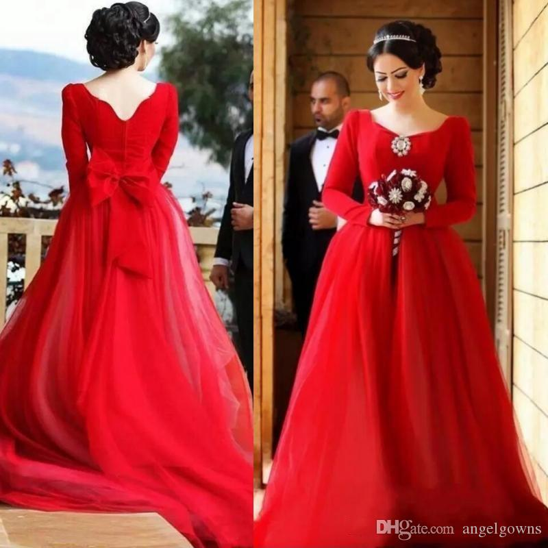 Beautiful Princess Saudi Arabia Red Wedding Dresses A Line New 2019 Capped  Long Sleeves Low Back Cheap Garden Bridal Wedding Gowns Plus Size