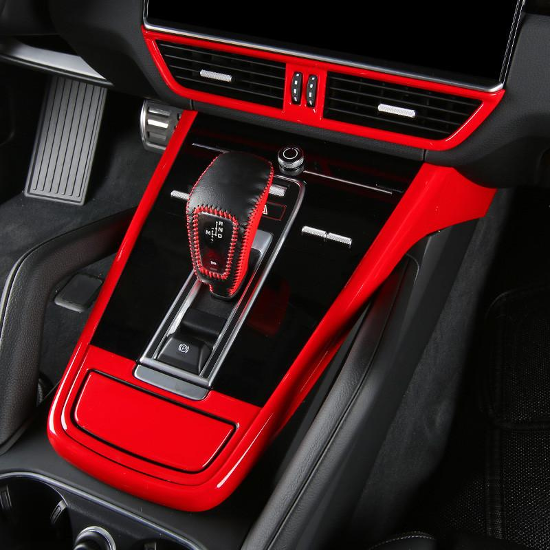 Carbon Fiber Printed Car Center Console Gear Panel Cover Styling