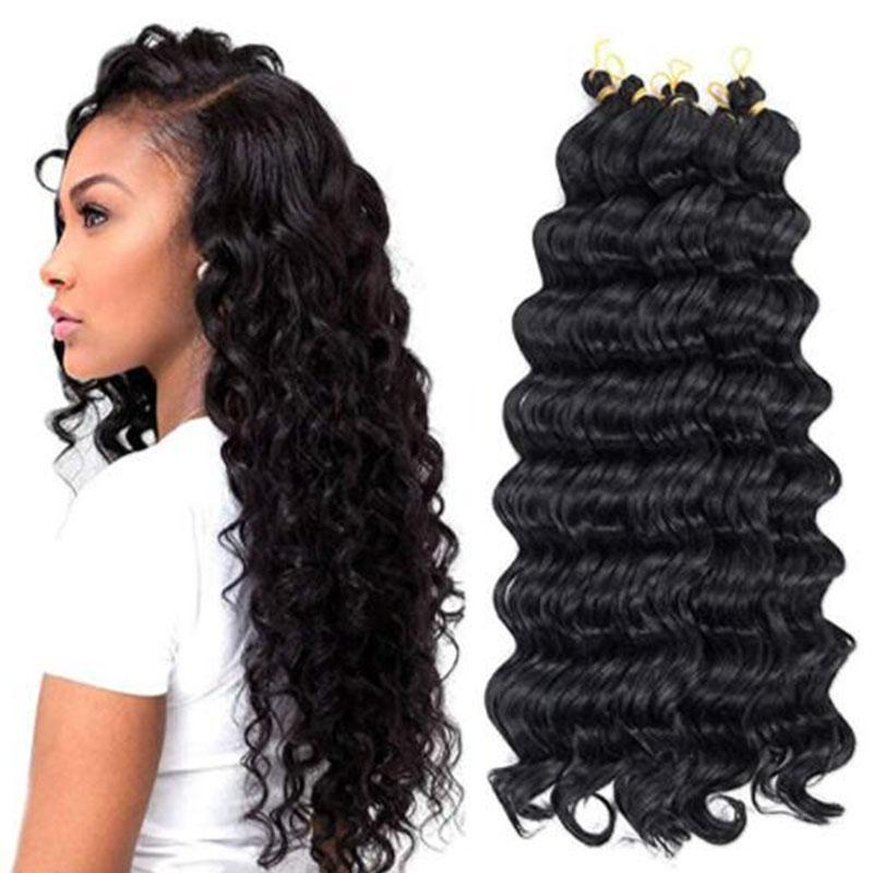 Hot! 20inches deep wave crochet hair synthetic hair weave ombre braiding twist african braids deep curly crochet braids hair extensions