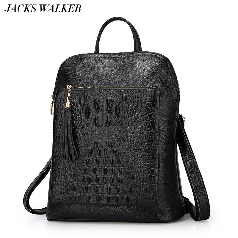 ecaa1d316e3e New Fashion 100% Genuine Leather Women Backpacks Luxury Brand Female ...