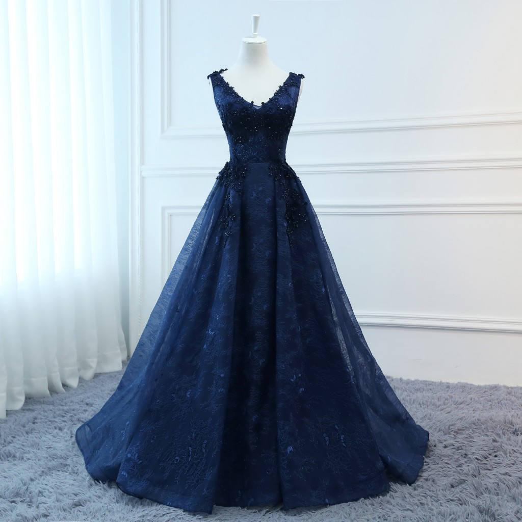 9dd5a98351e Compre Vestidos De Baile Vestidos Largos De Noche Azul Marino Vestido De  Tul Foral Vestido Formal De Fiesta Vestido De Novia De Moda Vestido De  Novia De ...