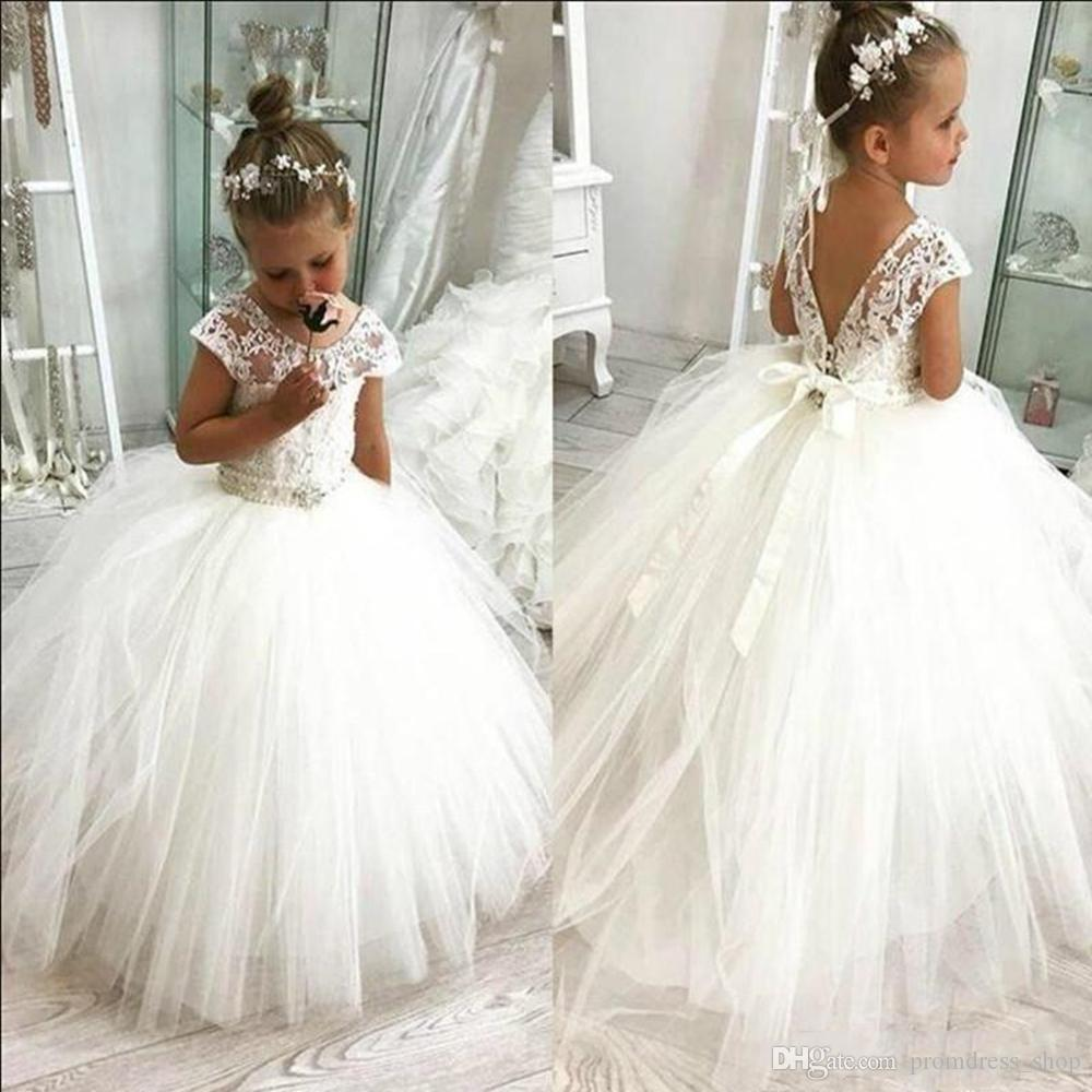 Vintage White Ivory Lace Flower Girl Dresses Holy First Communion Dress Gown New