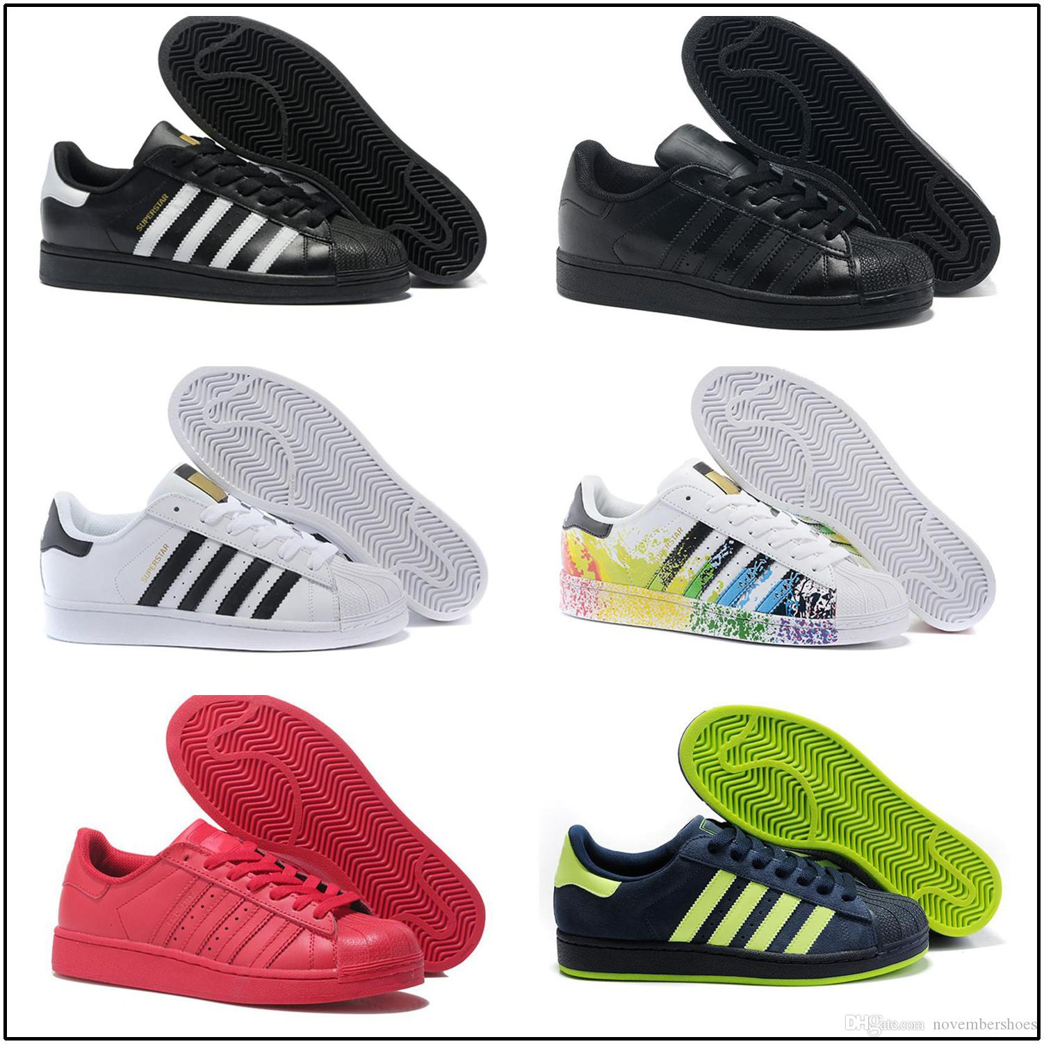 Acheter Adidas Superstar Super Star Stan Smith Superstar Original Blanc Hologramme Iridescent Junior Or Superstars Baskets Femmes Hommes Sport