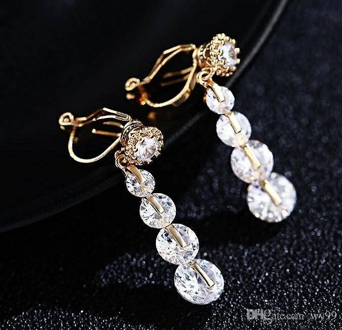 Originally Simple Women's Clamp Earrings Personality Long Super Immortal Girl Earrings New Zircon Ear Hole-Free Earrings